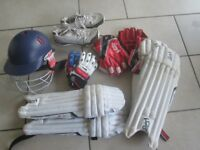 Junior cricket kit for sale - good condition, suit 10-12 yo - range of items, can split