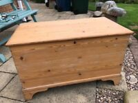 Large antique pine blanket box