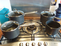 4 Analon Meyer Professional saucepans (non stick) with double steamer
