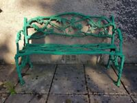 Antique Cast Iron Oak Leaf and Snake Bench