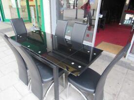 Matt Black chrome & Black Glass Extending Dining Table - with 4 Celeste Black Chairs