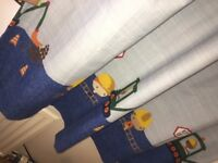 Toddler digger bed jcb with bedding and curtains
