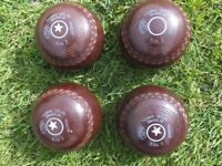 Thomas Taylor Ltd, LIGNOID - 4 x size 2 bowling woods; Good condition.