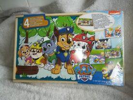 PAW PATROL 4 WOOD PUZZLE BOX ~ NEW