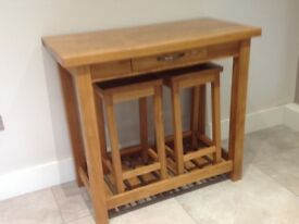 Bar table and two stools - Solid oak Laura Ashley bar and two stools