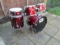Drums - Beginners CB Shell Pack 5 Drum Kit- Red Wine - Optional Cheap Hardware and Cymbals