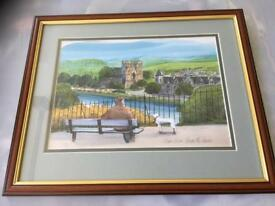 Watercolour of the river ness and cathedral from the Castle