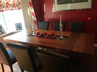 Walnut Dining Set (Table plus 6 brown chairs)
