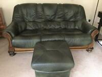 3 and 2 seater green leather suite with armchair and pouffe