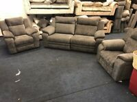 DFS TOULON GREY FABRIC THREE PIECE SUITE 3 SEATER SOFA AND 2 ARMCHAIRS ELECTRIC POWER RECLINER NEW