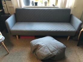 Sofa Bed Ryson Marl Grey including foot rest / floor cushion