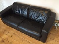 Brown leather 3 seater sofa - excellent condition