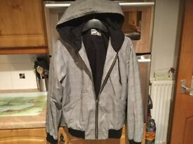 TOPMAN jacket with hood adults size small, 20.5 inches pit-pit. IMMACULATE CONDITION. BARGAIN.