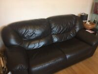 2 & 3 seater brown leather sofa.