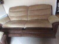 FREE Brown/cream 2 and 3 seater reclining sofas