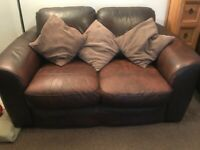 3 PIECE SUITE. Brown Leather.