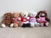 Build-A-Bear Soft Cuddly Toys x5 plus Bed