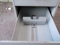 Filing cabinet, 4 drawer, grey metal