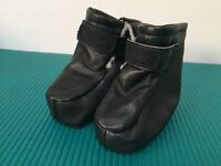 Boumy Dark Navy Blue Leather Sheepskin Booties for 9-12mth old - £5