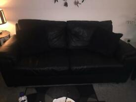 3x2 Black leather sofas