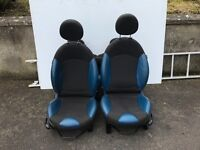 Blue Half Leather Mini Seats - R56 Mini One, Cooper, Cooper S