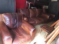 3 + 1 + 1 aged/ antique tan leather suite with gold stud detail