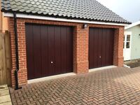 Garador Rosewood laminate 7070 Canopy Garage Doors (Pair) Steel Frames