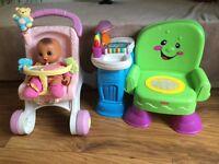 Baby walker + toys