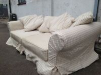 IKEA FABRIC EKTORP 3 SEATER CUSHION BACK SOFA IN VERY GOOD USED CONDITION FREE LOCAL DELIVERY