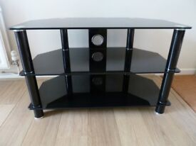 """John Lewis, Black Glass TV Stand. For Sets Up To 32""""."""