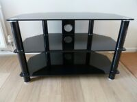 "John Lewis, Black Glass TV Stand. For Sets Up To 32""."