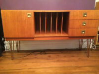 Vintage Sideboard cabinet - Danish / Teak Inspired 1960s 1970s - hairpin legs - Refurbished