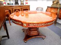 SPECTACULAR FRENCH EMPIRE LOUIS XV1 SUPERB MARQUETRY TOP KINGWOOD & ORMOLU DINING TABLE