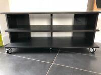 Ikea TV bench in black-brown 118cm wide x 38 deep x 51.5cm high on lockable castor wheels