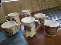 Unmatched set of royal commemorative mugs (6)