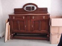 Vintage Solid Oak Sideboard Cabinet with bevelled mirror and locking keys