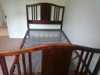 """4'6 Double Bed real wood 14"""" from floor, headboard height 4'"""