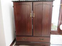 Dark wood, TV cabinet with folding doors & storage drawer
