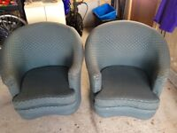 2 green fabric tub chairs free to collect - Braemar