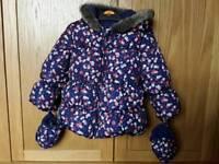 M&S toddler girl 12-18 months winter coat jacket