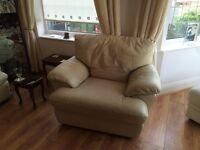 3 piece leather suite cream including recliner
