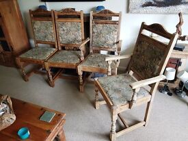 6 Old Charm - Solid Oak dining room chairs