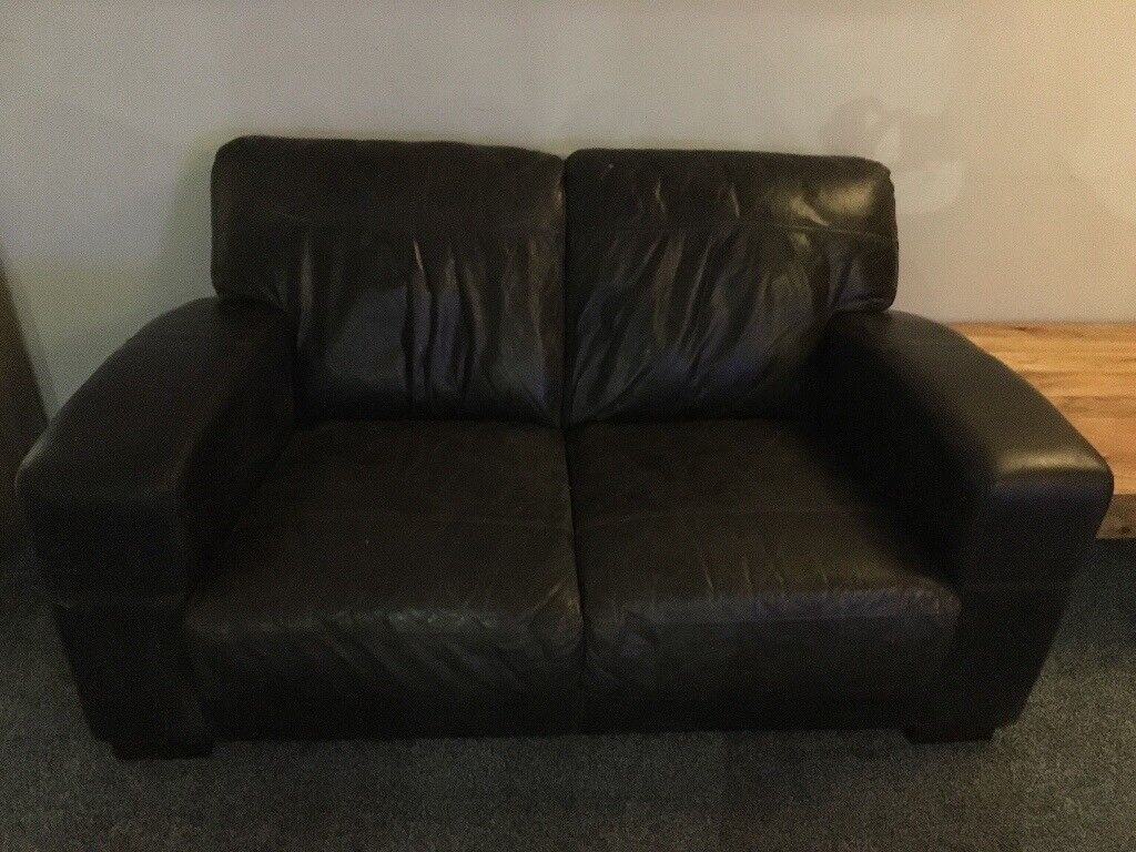 Brown leather Corner & two seater sofas