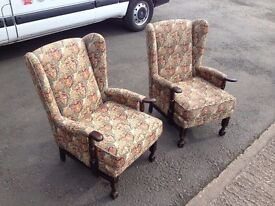 PAIR OF VINTAGE WING BACK FIRESIDE ARMCHAIRS ~~ PARKER KNOLL?