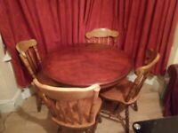 Round mahogany dining table with 4 chairs (DELIVERY AVAILABLE)