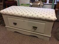 Pine Storage seat bench ottoman with drawer