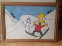 "Bart Simpson ""Skiing"" Framed Picture"