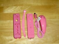 Pink Wii Remote, Nunchuck and Cover