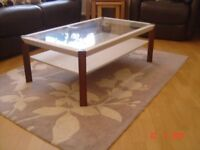Glass Topped Coffee Table with Oak Legs and Chalk Painted Framework. Can Deliver.