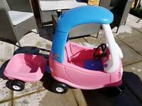 Little tikes princess coupe with trailer